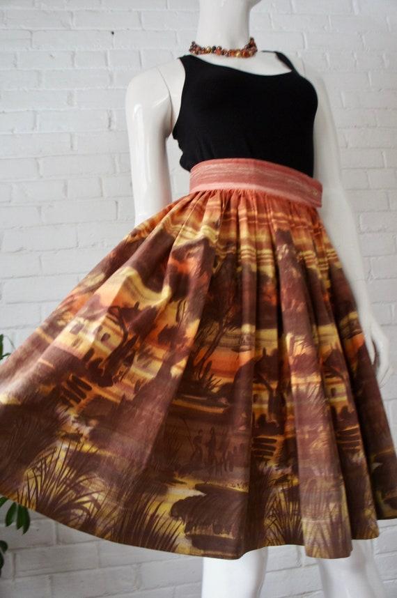 SUNSET GLOW Vintage 1950's Scenic Pastoral Cotton