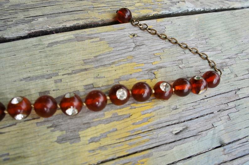 RHINESTONE ROOT BEER Vintage 1930/'s Beaded Bakelite Choker Necklace