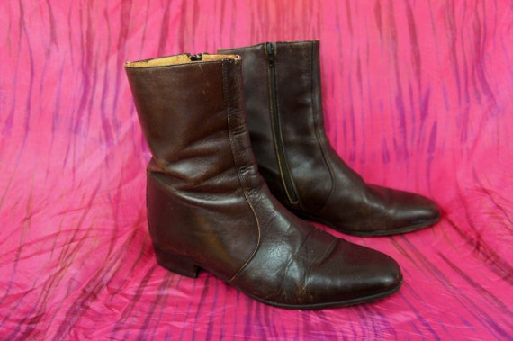 BEATLE BOOTS 1960's Mod Brown Leather Ankle Boots,