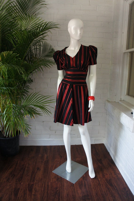 RED SATIN STRIPED Vintage 1940's Puff Sleeve Dress