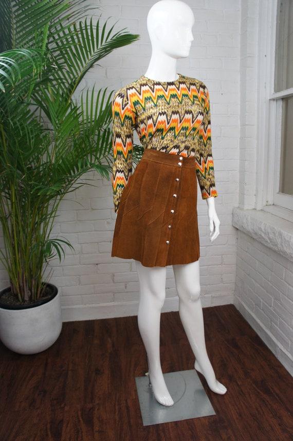 PATCHWORK SUEDE Vintage 1960's Snap Front Brown Su