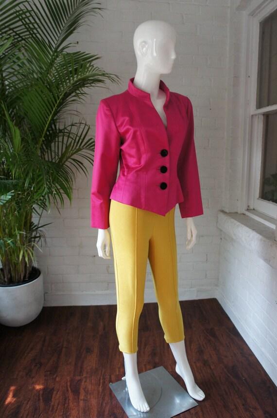 YVES SAINT LAURENT Vintage 1990's Hot Pink Silk Sa