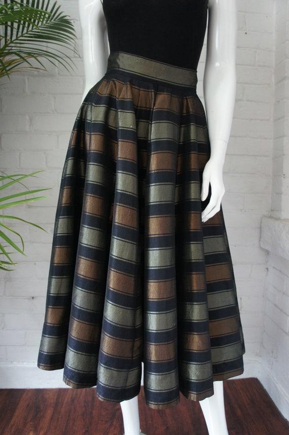 BRONZE & JADE Vintage 1950's Raw Silk Striped  Swi
