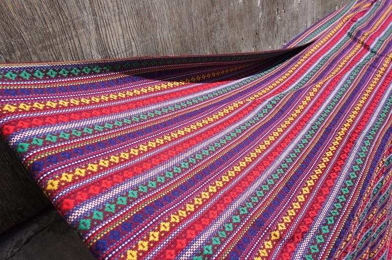 DEADSTOCK FABRIC Vintage 1960/'s Boho Striped Woven Fabric Yardage 1.75yd x 4.83yd