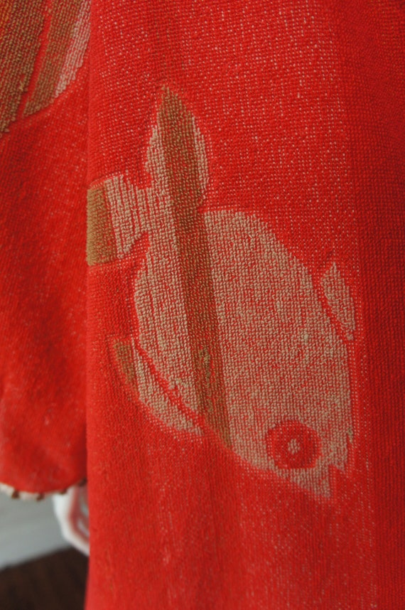 TERRY CLOTH FISHES Vintage 1940's Funnel Sleeve T… - image 4