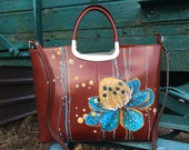 Concealed carry purses. Hand pained leather small handbag. Blue Lotus art