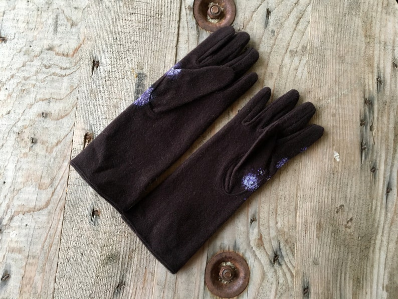 Brown wool gloves Long winter gloves women Hand painted Size 6.5-7.5  XS M