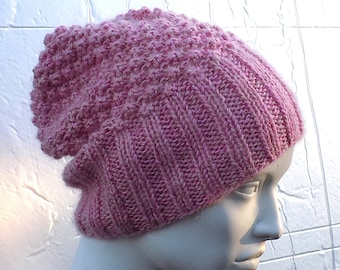73f15250a59 SAMPLE SALE bobble knit slouchy beanie hat in pink   mohair merino wool  blend   women beanie   handmade   jplust