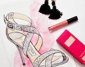 Jimmy Choo Fashion Illustration Shoe - Strappy High Heel Drawing - Watercolour - Fashion Artwork - Original - Fashion Print