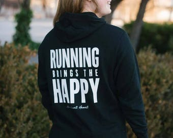 Running Brings the Happy French Terry Hoodie // Running Sweatshirt // Gift for mom