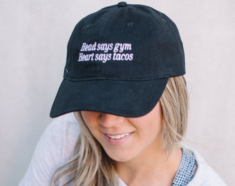 Heart Says Tacos Hat ~ Gifts For Foodies ~ Funny Fitness Gift ~ Workout Accessories