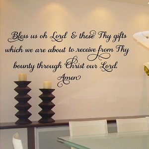 Dining Room Wall Decal Thanksgiving Wall Art VWAQ Decals Bless Us Oh Lord and These Thy Gifts