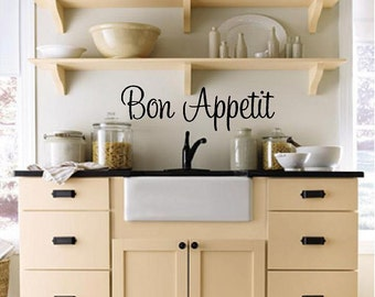 Delicieux Bon Appetit (Kitchen) Custom Vinyl Wall Decal Kitchen Wall Decal Wall  Lettering Wall Words Vinyl Wall Decal