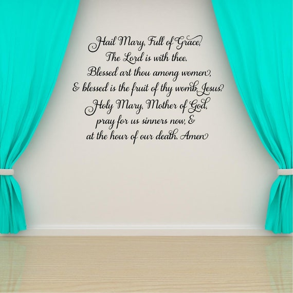 Hail Mary Full of Grace Luke 1:28 ROSARY #2 Vinyl DECAL Car Window Wall Office