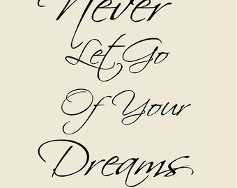 "Kids Room Decor Never Let Go of Your Dreams Vinyl Wall Decal 20""H x 15""W"