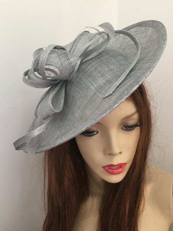Fascinator Hat silver Grey Saucer headpiece on hairband  0e47fa9e3a8