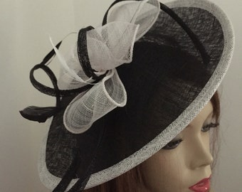 Fascinator Hat Black and White Saucer Disc headpiece with Feathers on hairband, perfect for the races or a wedding