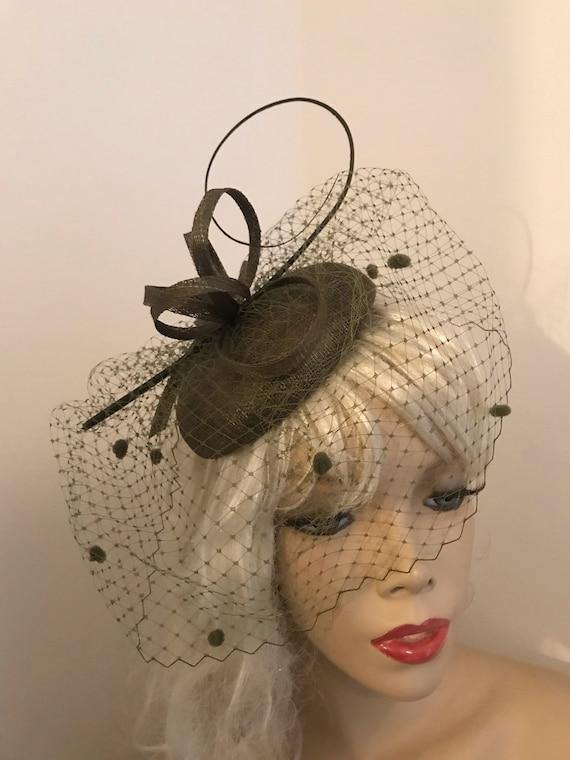 f953d461a87 Fascinator Hat Olive Dark Green Hatinator Pillbox headpiece