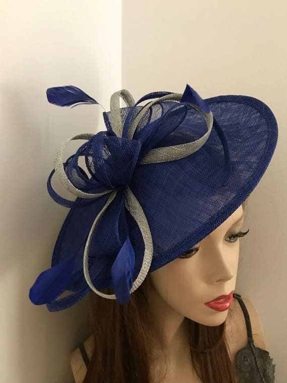Cobalt Blue and Silver Fascinator Hat saucer hatinator  9499a5a11ae