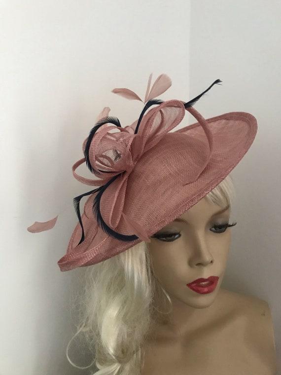 Fascinator Hat Blush Pink Nude   Ivory Saucer Disc headpiece  c0c2d822371