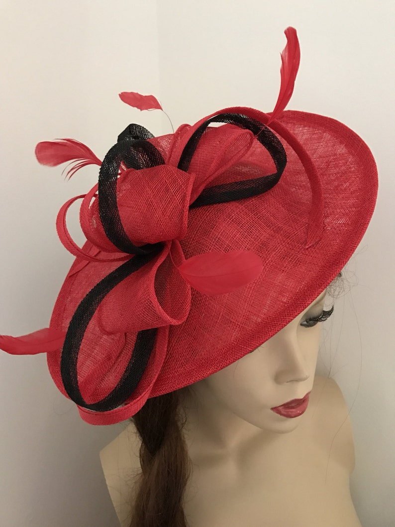 Fascinator Hat Red Black Saucer headpiece with Feathers on  44126b4f667