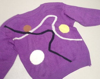Vintage rad 80s 90s Knitted Jumper Sweater abstract geometric kitsch retro