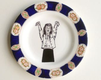 Vintage Plate Zombie Girl Altered Art gothic horror