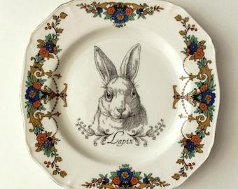 Vintage Rabbit Hare Plate Altered Art
