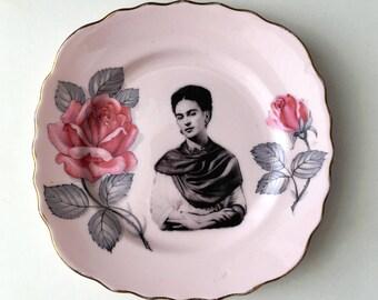 Vintage Plate Frida Kahlo Altered Art mexico artist