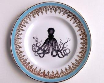 Vintage Nautical Octopus Plate Altered Art wall art