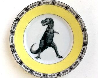 Vintage Victorian Plate TRex Dinosaur Altered Art prehistoric