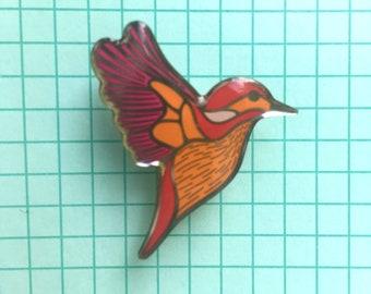 Vintage enamel pin badge Kingfisher British bird pin