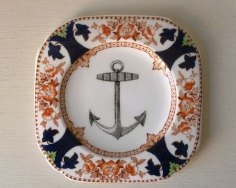 Vintage Nautical Anchor Plate Altered Art