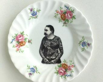 Vintage Victorian Moustache Tattooed Man Plate Altered Art