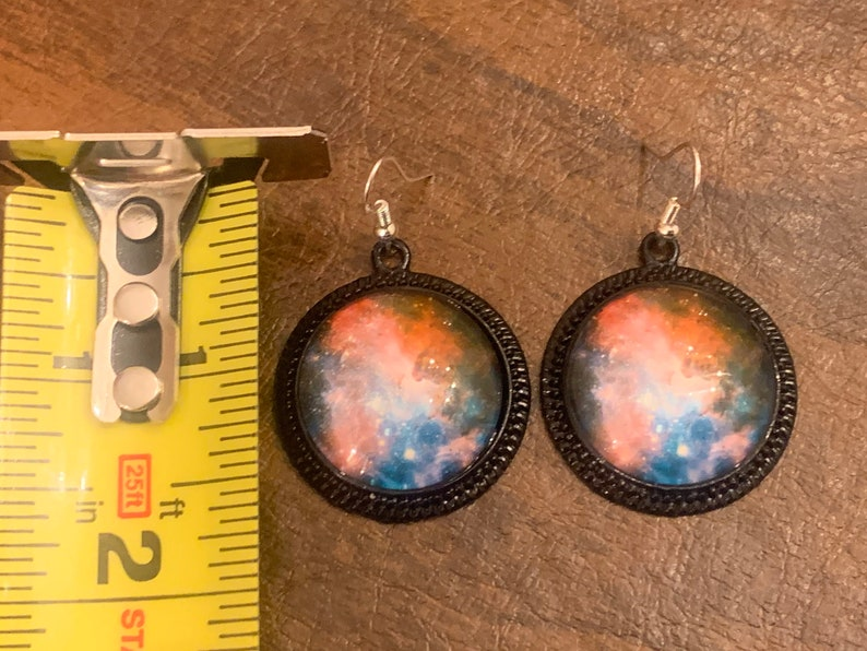 Multi-Color Galaxy Glass Cabochon and Metal Earrings