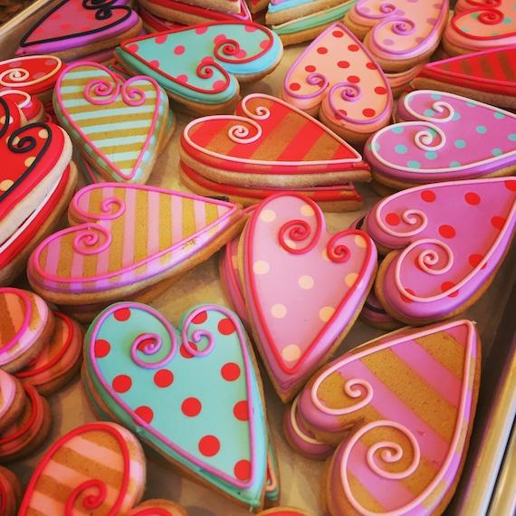 Valentine S Day Decorated Sugar Cookies 1 Dozen Etsy