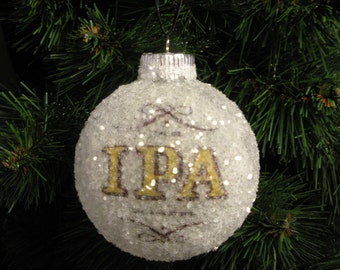 NEW!! Chicago Beer, IPA glass glitter ornament