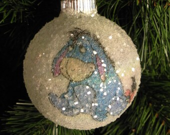 "NEW!! Winnie the Pooh's ""Eeyore"" glass glitter ornament"