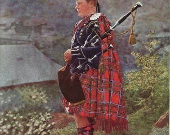 4e2726a3f3229 Scottish Piper Bagpipes 1930s Print Scotland Royal Stuart Stewart Tartan  Braemar Gathering Highland Games Henry Forsyth Wall Decor 1935