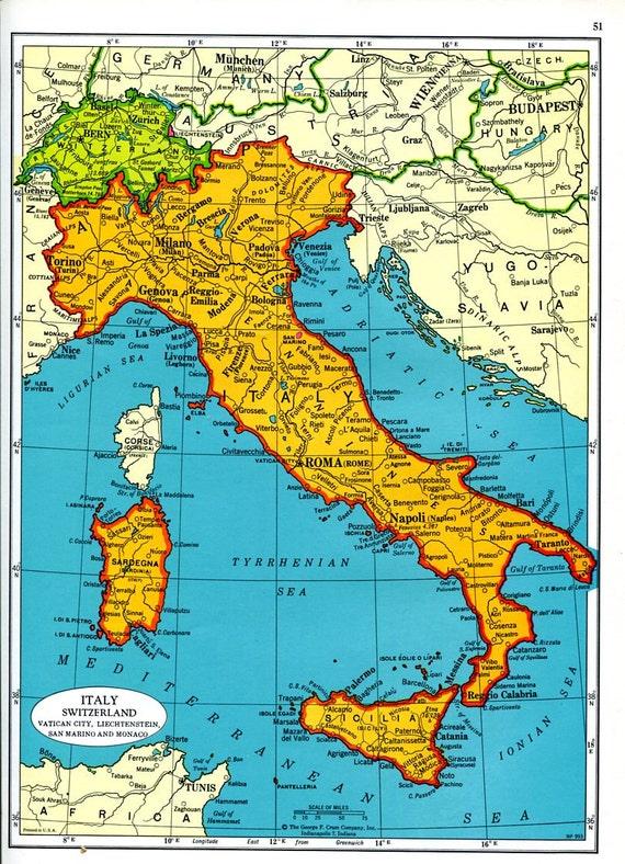 Map Of Italy Switzerland.Former Yugoslavia Map Italy Switzerland Map 1960s Europe Cram Atlas Mid Century