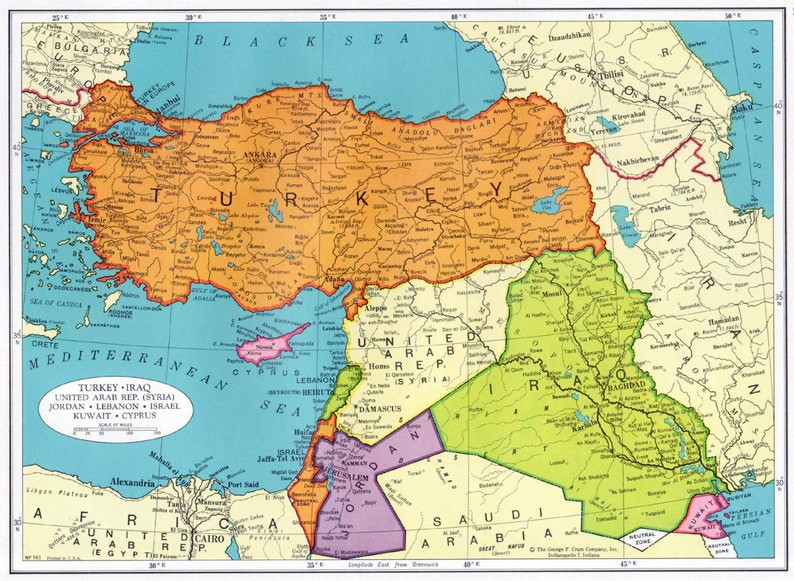 TURKEY and Middle East Map 1960s Cram Atlas Iraq Syria Jordan Lebananon  Israel Kuwait United Arab Republic