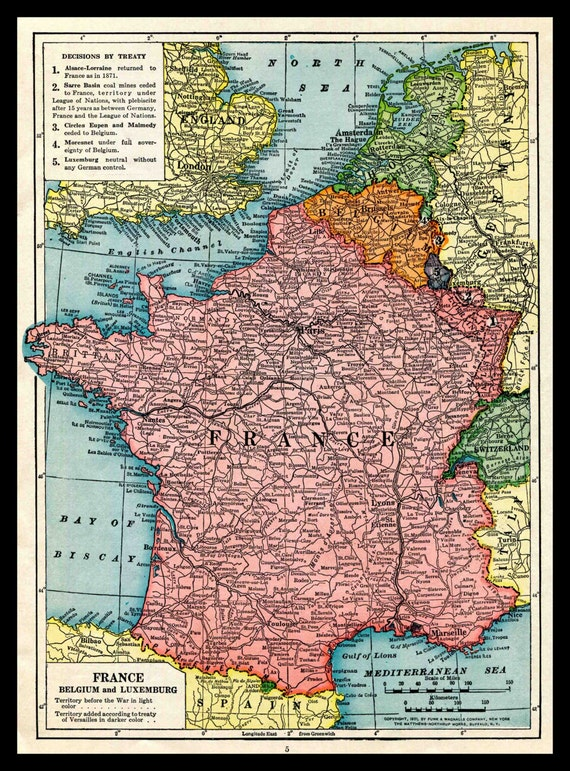 Map Of France Belgium And Luxembourg.1921 Map France Belgium Luxembourg Post World War One Etsy