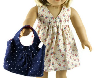 """18 inch doll dress, 18-inch doll patriotic dress, AG doll dress, American flag red white and blue dress, 18"""" Salinas dress"""