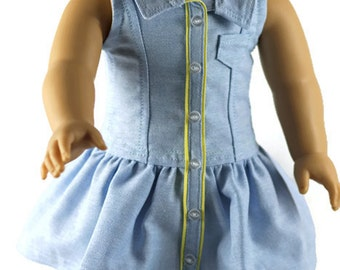 18 inch doll dress, AG doll dress, AG doll clothes, 18 inch doll clothes, blue dress, 18 inch doll purse, handmade to fit American Girl Doll