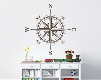 """Compass Rose """"The Charles"""" vinyl decal for walls, ceilings and more K552"""