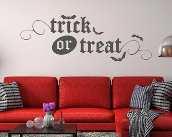 Trick or Treat with Bats Vinyl Wall Decal Quote - fits interior painted walls and more, removable L203