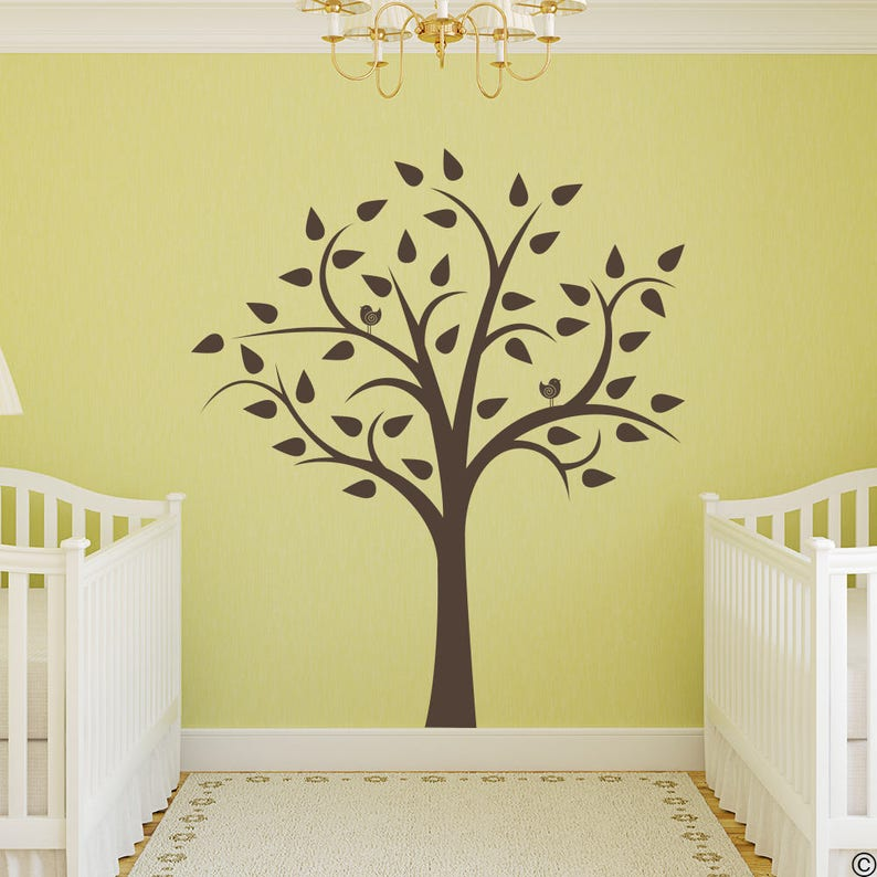 Tree with Two Birds Vinyl Wall Decal fits nursery room children/'s room or home decor K575
