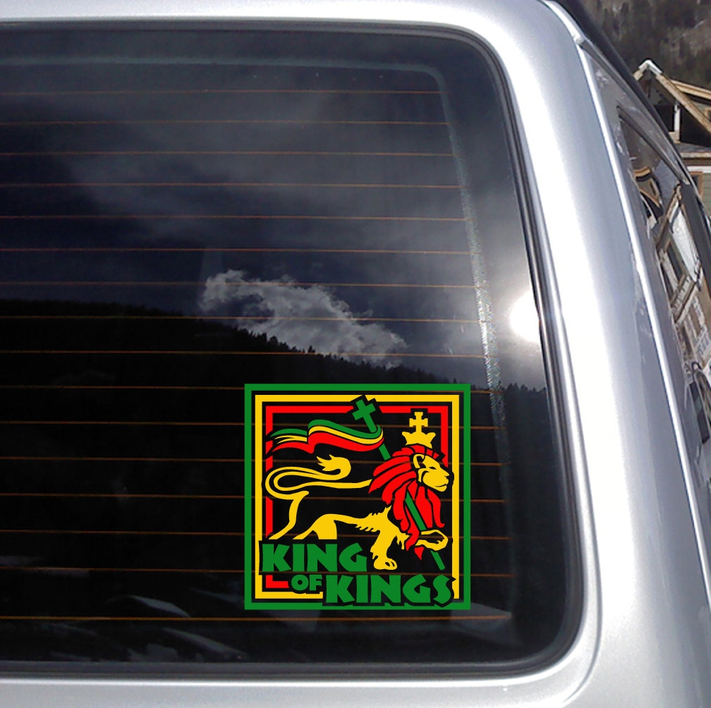 King of kings rasta lion vinyl decal 6 x 6 inches k328