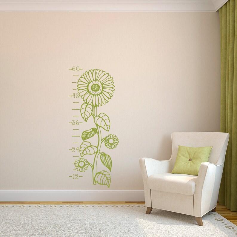 Flower Wall Art K617 Sunflowers Growth Ruler Vinyl Wall Decal Nursery