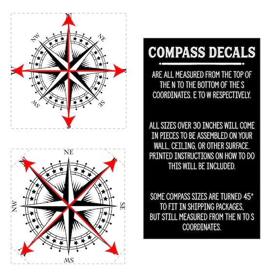 """Compass Rose /""""The Patriot/"""" Vinyl Wall//Ceiling Decal nautical room sticker K625"""